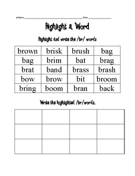 Highlight a word for br, cr, and fr blends