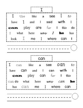 Highlight and Write Sight Words
