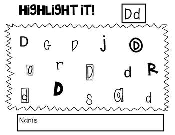 Highlight it! Letter Identification A-Z