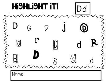 Highlight it! Letter Identification A-Z