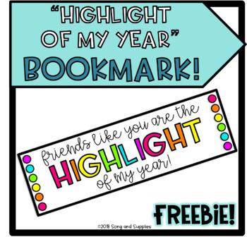 Highlight of My Year Bookmark - FREEBIE!