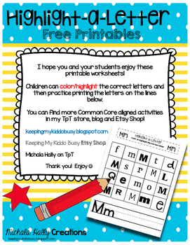 Highlight the Alphabet - Letter names - Handwriting - Alphabet Practice