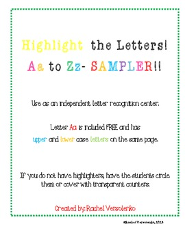 Highlight the Letter Aa FREEBIE