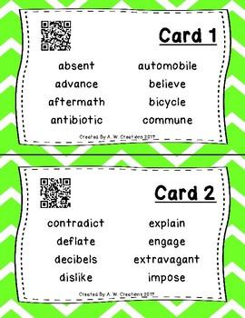 Highlight the Prefixes QR Code Task Cards IREAD PHONICS