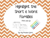 Word Family Short e
