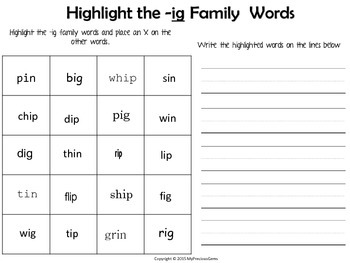 Word Family Short i