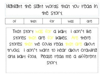 Highlight the Sight Words