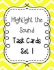 Highlight the Sounds QR Code Task Cards Sets 1 to 3 IREAD Practice BUNDLE