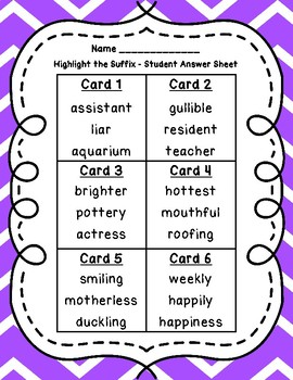 Highlight the Suffixes QR Code Task Cards IREAD PHONICS