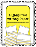 Highlighted Writing Paper