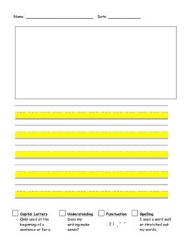 Highlighted Writing Paper with Editing Check List