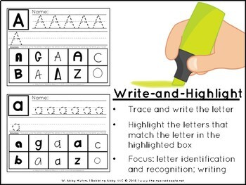 Highlighter Activities: Letters and Beginning Sounds