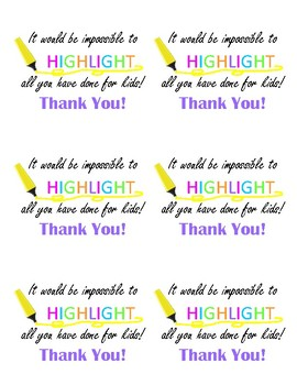 Highlighter Appreciation Cards or Labels