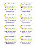 Highlighter Appreciation Cards or Labels