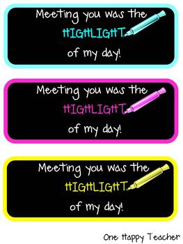 Highlighter Gift Tags (Back to School)