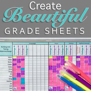 Beautiful Custom Grade Sheet- Printable Template