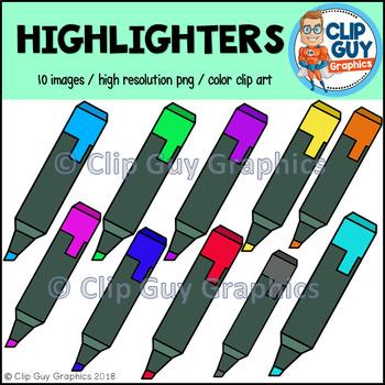 Highlighter Hi-Liter School Supplies Clip Art {Clip Guy Graphics Clipart}