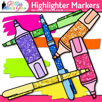 Highlighter Marker Clip Art {Neon Back to School Supply Graphics for Resources}