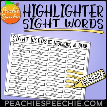 Highlighter Sight Words