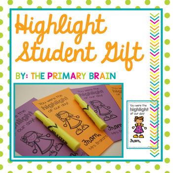 Highlighter Student Gift Editable Printable