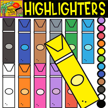 Highlighters - School Supplies - Cliparts set - 12 Items