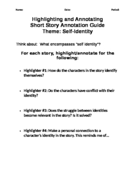 Highlighting and Annotating Short Story
