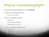 Highlighting and Annotating a Text PowerPoint