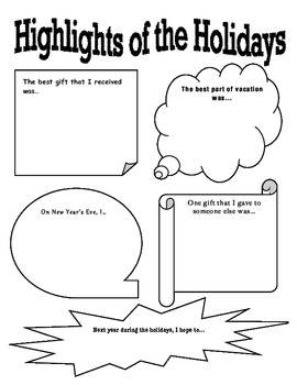 """Highlights of the Holidays"" New Year Reflection Activity"