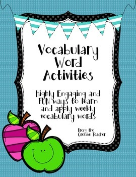 Highly Engaging Weekly Vocabulary Word Activities