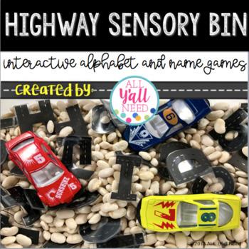 Highway Themed Sensory Bin Activities