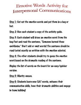 Fun Interpersonal Communication Emotive Words Game or Icebreaker; Active Speech