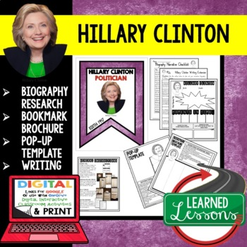 Hillary Clinton Biography Research, Bookmark Brochure, Pop-Up, Writing