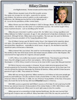 Hillary Clinton Biography and Reading Comprehension Activities