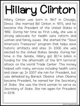 Hillary Clinton Biography Pack (Women's History)