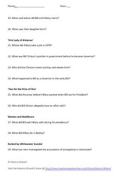 Hillary Clinton Timeline Webquest