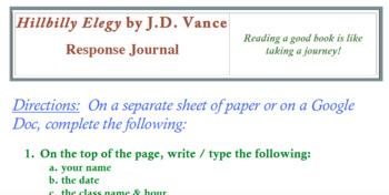 Hillbilly Elegy by J.D.  Vance (RESPONSE JOURNAL INSTRUCTIONS)