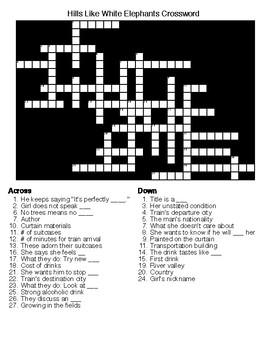 Hills Like White Elephants Crossword and Word Search