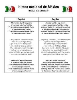 Himno nacional MEXICO National Anthem MEXICO INGLES y ESPANOL