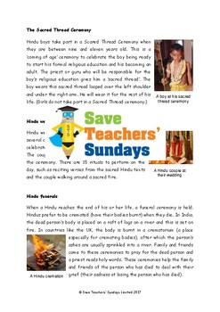 Hindu Ceremonies Lesson plans, Text and Worksheets / Activ