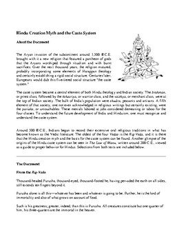 Hindu Creation Myth and the Caste System  (For Primary Documents Analysis)