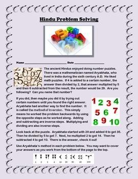 Hindu Math Problem Solving Using Aryabhata's Methods