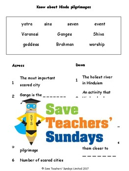 Hindu Pilgrimages Lesson plan, Text and Worksheets