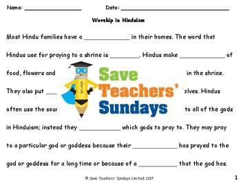 Hindu Worship Lesson plan, Worksheets and Activity