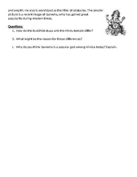 Hindu and Buddhist Art Worksheet