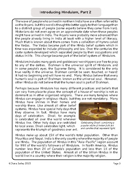 Hinduism History Introduction Informational Texts Activities World Religions