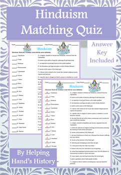 Hinduism Activity Matching with Answer Key