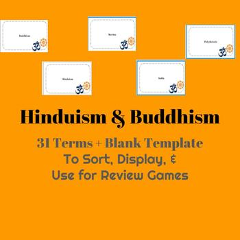 World Religion Hinduism & Buddhism Vocabulary Cards, Display & Activities
