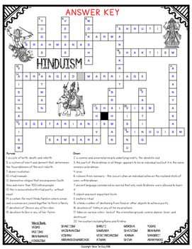 Hinduism Comprehension Crossword By Bow Tie Guy And Wife Tpt
