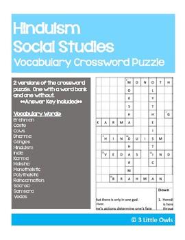 Hinduism Crossword Puzzle By 3 Little Owls Teachers Pay Teachers
