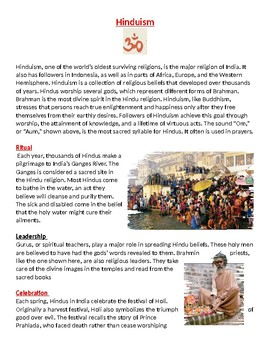 Hinduism: Rituals, leadership, worship practices worksheet